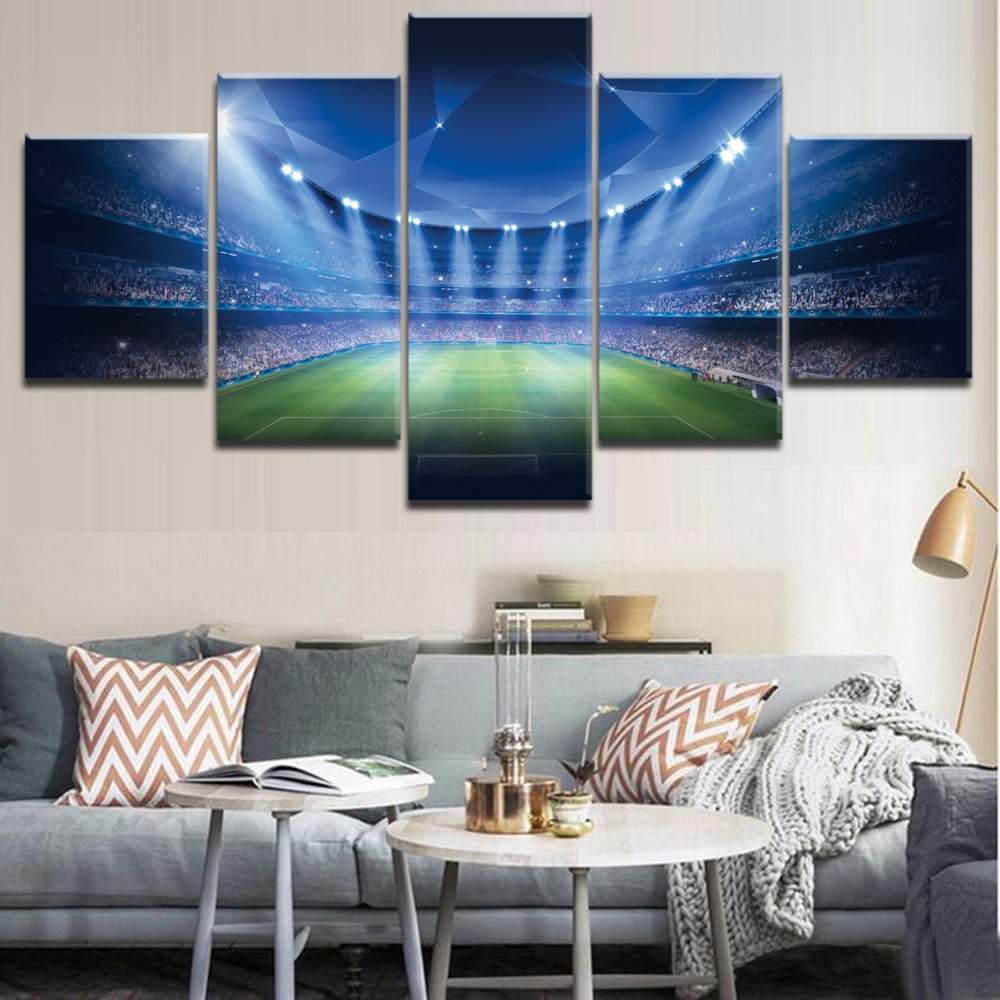 Home Decorative Art Canvas Paintings For Living Room Wall Modern Painting Framework 5 Panel Soccer Stadium Landscap Picture