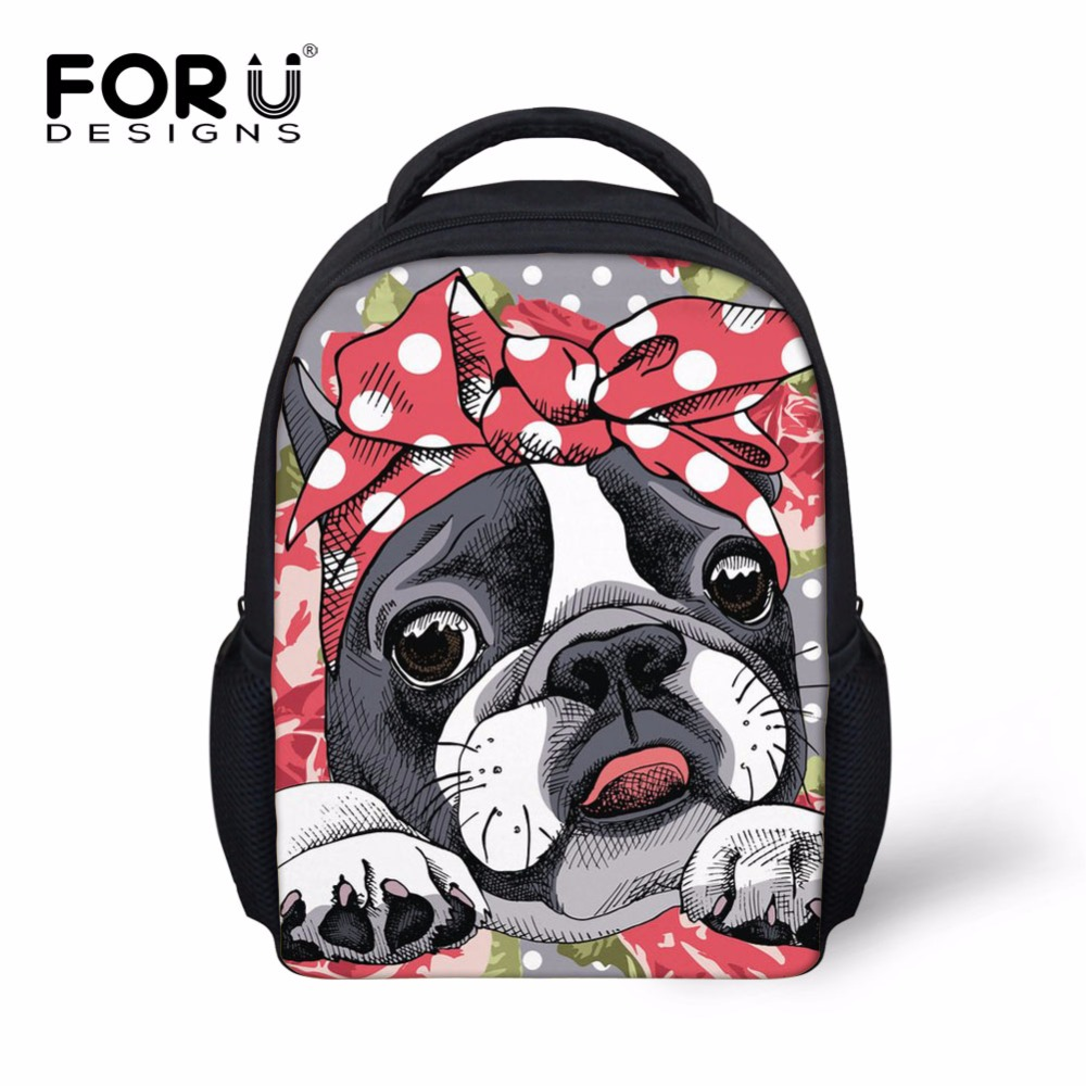 a5406564aa FORUDESIGNS Newest 12 Inch Schoolbag for Kids Boston Terrier 2 Pencil Bag  Set Cartoon Cute Small
