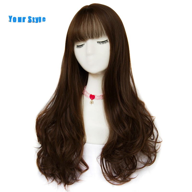 Your Style 42 Colors Synthetic Long Wigs With Bangs For Black Women  Honey  Wavy Natural Hair Wig Free Wig Cap