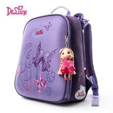 Delune новый бренд для девочек Школьный рюкзак Водонепроницаемый нейлон Цвета Детские рюкзаки Высокая qualitied школьные сумки maleta Эсколар