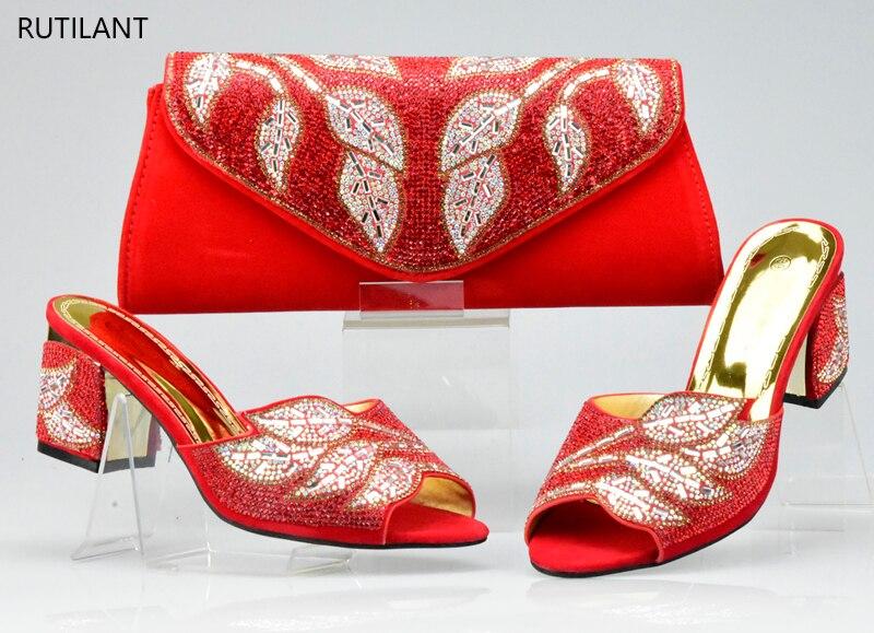 Boda rojo Color De Mujeres púrpura oro Fucsia Italianas fuchsia Y Señoras Nueva Negro Decorado Bolsa Con Rhinestone Zapatos Conjunto Llegada Para ERWwq5wTO