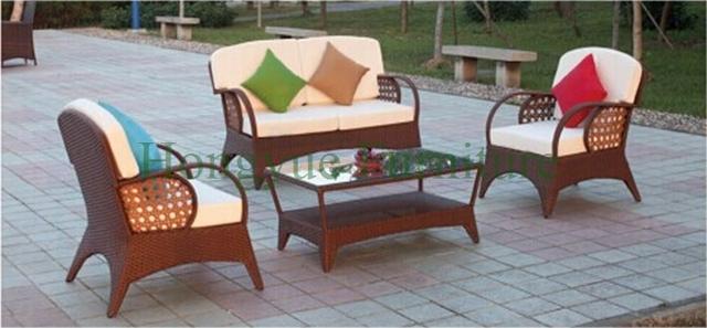 Muebles de ratán sofá Patio, conjunto de sofás de mimbre al aire libre