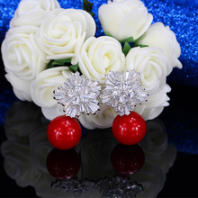 2018 New Arrival Snow Flower Design Women Big Drop White Pearl Earrings With Cubic Zirconia Christmas Gift  CZ069