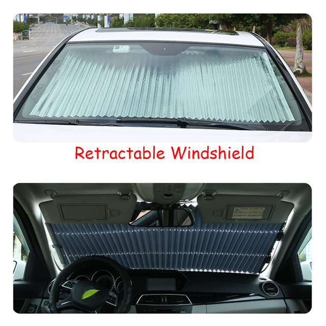 Automatic Retractable Windshield Sunshade More size Telescopic Car Front Sun  Shade Summer Rear Auto Visor Car Prevent heat b072e92f605