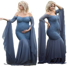 European American women's lace long sleeves Pregnant Dress  Maternity Women Pregnant Gown Photography Props Costume Pregnancy maternity photography prop maternity gown off the shoulder ruffle neckline long sleeves photoshoot pregnancy photography elegant