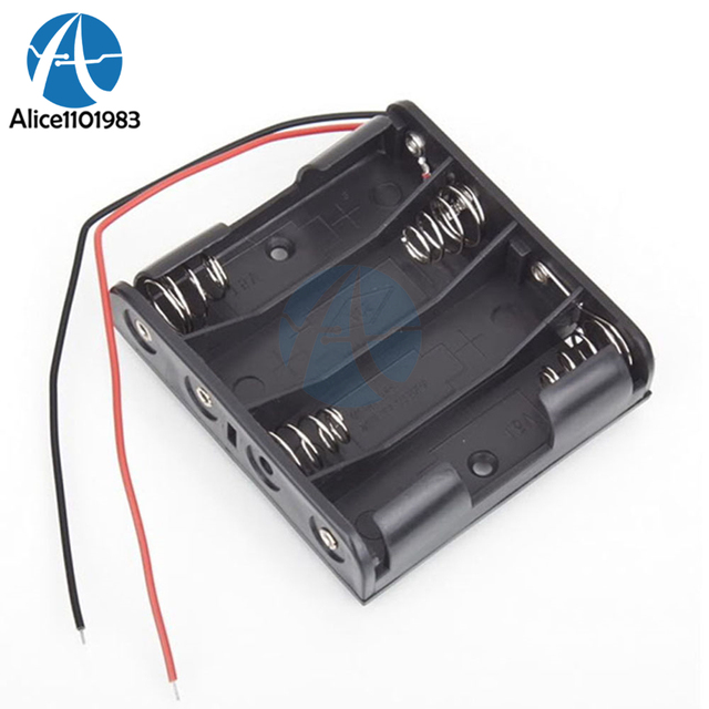1PCS Plastic Battery Storage Case Box Holder For 4 X AA 4xAA 2A 6.0V Wire Leads for Soldering / Connecting Product Your Battery