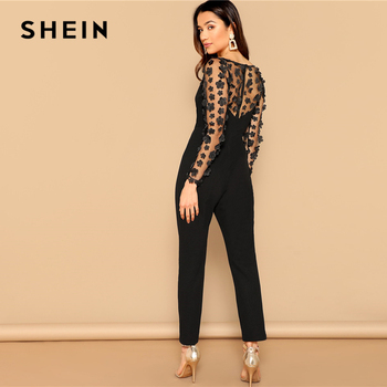 SHEIN Black Sexy Mesh Flower Appliques Sleeve Square Neck Jumpsuit Women Mid Waist Skinny Spring High Street Solid Jumpsuits 3