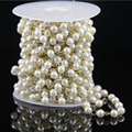 White Pearl Glass Gems Smooth Round Beads Chains Necklace,Plated Bronze Wire Wrapped Rosary Link Loose Bead Bracelet Jewelry