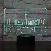 City Toronto Usb 3d Led Night Light veilleuse Lamp Decoration RGB Kids Baby Gift Famous Buildings Table Lamp Bedside neon owl city toronto