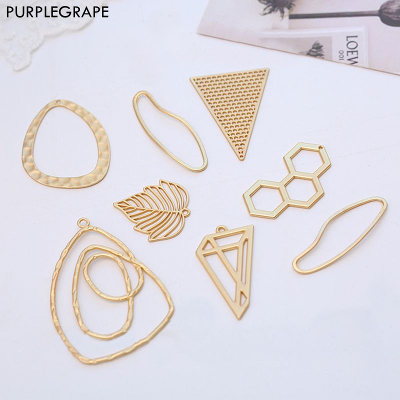 Asian Gold Series DIY Material Earrings Jewelry Accessories Pendant Alloy Irregular Abstract Geometric Shape 6 Pieces