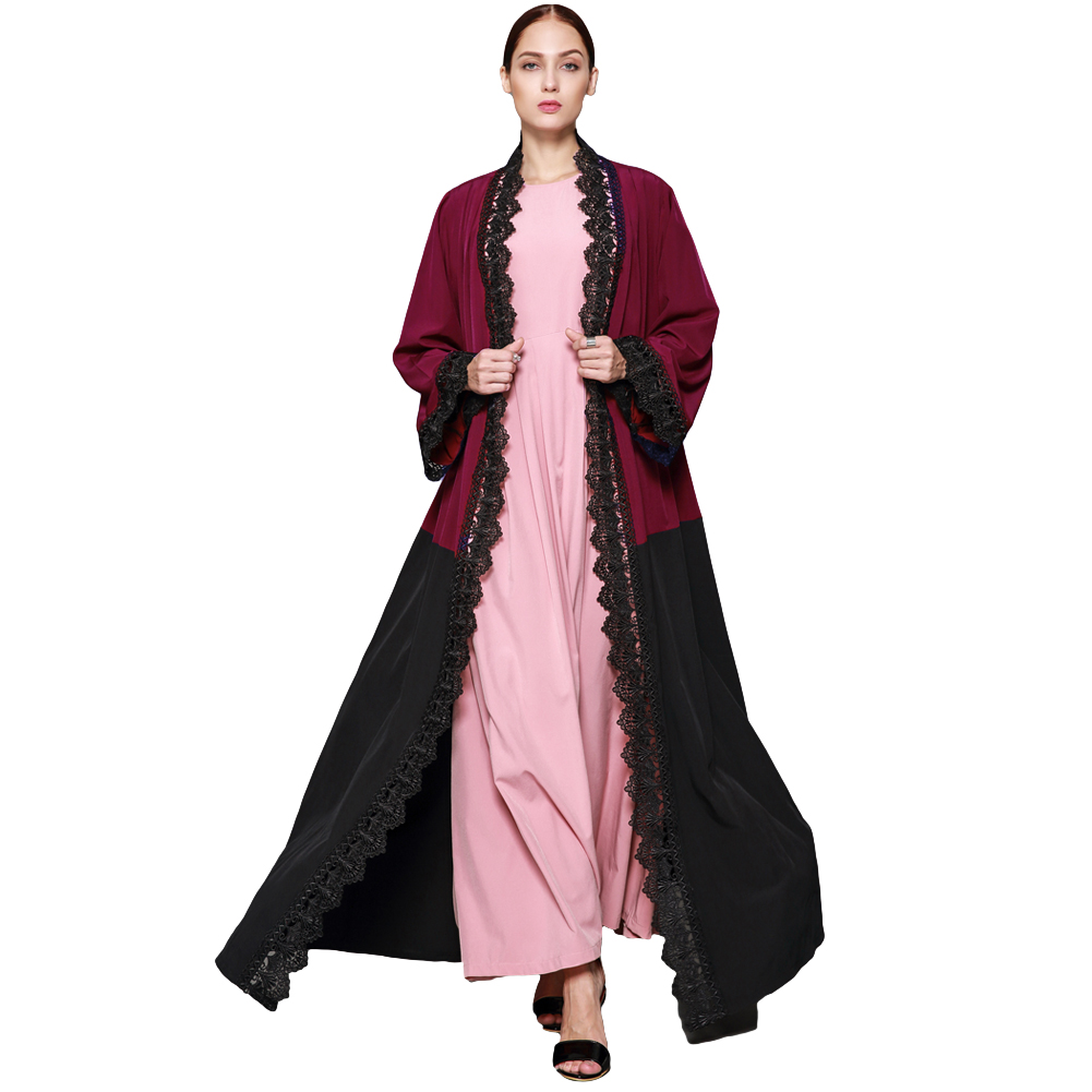 61bea90190 New Women Plus Size Muslim Cardigan Crochet Lace Spliced Color Block Long  Sleeve Maxi Gown Islamic Long Dress Burgundy-in Dresses from Women's  Clothing on ...