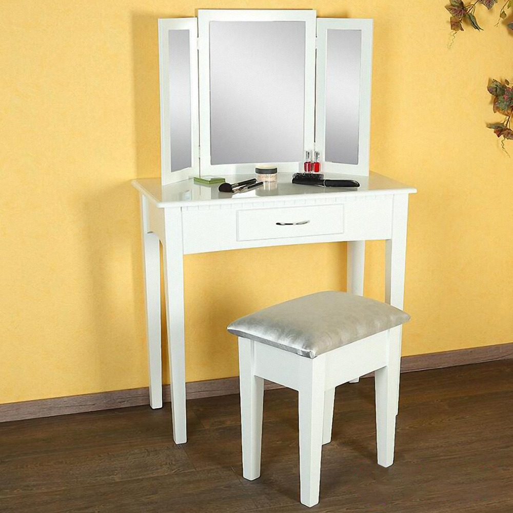 White dresser Table Vanity Makeup Desk with 1 Drawers, 3 Mirror Set and Stool