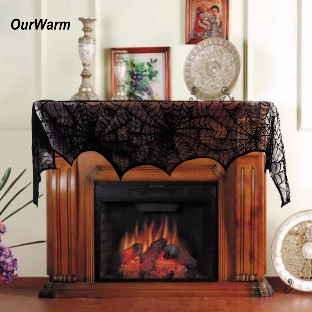 ourwarm 2pcs 24845cm halloween decoration black lace spiderweb fireplace table cover for halloween props - Decorative Fireplace