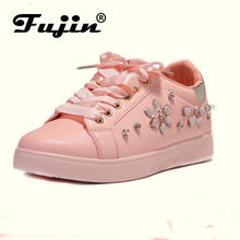 Fujin Brand 2018 New Pearl Espadrille Soft Leather Rhinestone Women Flat Shoes Loafers Sneakers Party Female Shoes Espadrilles