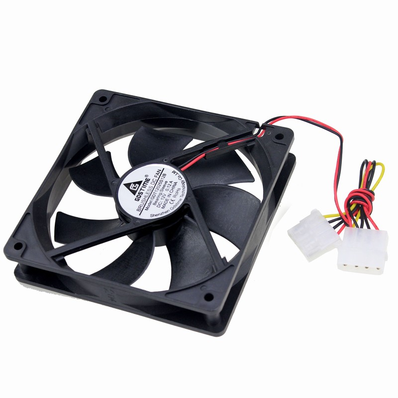 Gdstime 2 pcs Big Airflow 4 Pin 120mm 120x120x25mm DC 12V PC Computer Case Cooling Fan gdstime 10 pcs dc 12v 14025 pc case cooling fan 140mm x 25mm 14cm 2 wire 2pin connector computer 140x140x25mm