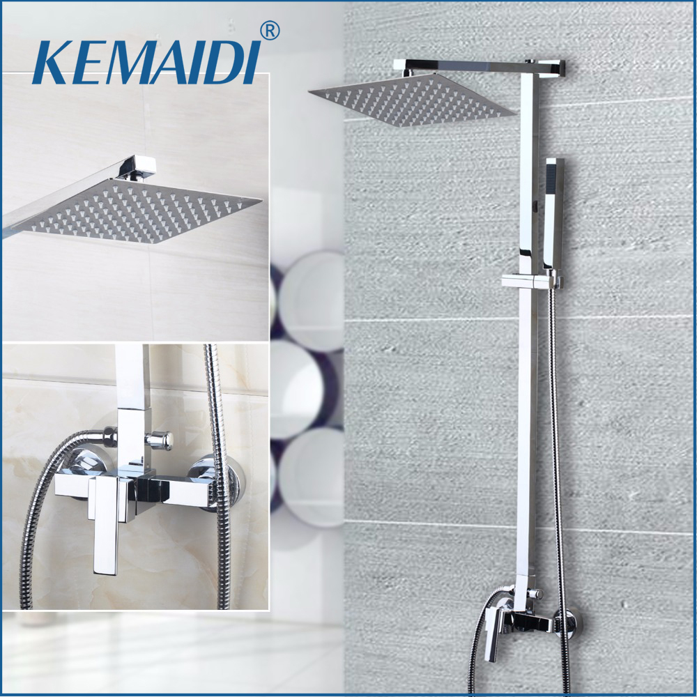 KEMAIDI Chrome Finished Wall Mount 8 Big Rain Shower Set Mixer Faucet Bathroom Shower With Adjust Height Handheld Shower Set sognare new wall mounted bathroom bath shower faucet with handheld shower head chrome finish shower faucet set mixer tap d5205