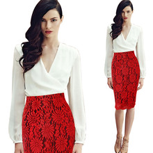 High Quality New Women Lace Pencil Skirt Hollow Out White Black SKirt Knee Length Plus Size S-3XL Red Bodycon Skirts
