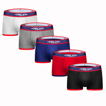 ORLVS 2019 Boxer Men Underwear 5Pcs/lot Masculina Mens Underwear Boxers Calzoncillos Boxer Homme Cuecas OR138