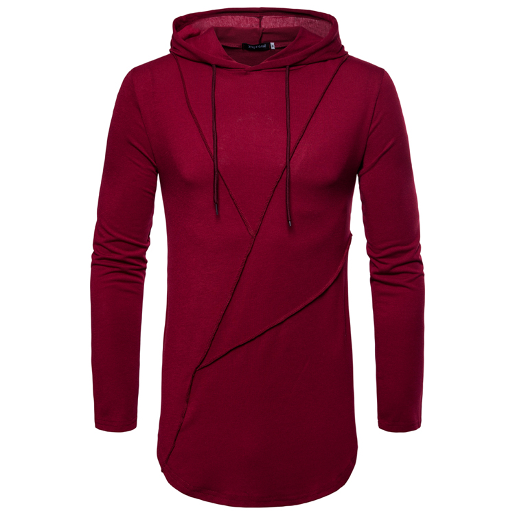 Male 2018 Brand Solid Color Spliced Hooded Casual Long Sleeved T-Shirt O-Neck Slim Men T-Shirt Tops Fashion Mens Tee Shirt