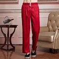 Hot New Fashion Red Cetim Dos Homens Chineses de Kung Fu Tai Chi Pant Cintura Elástica Lazer Reta Calças M L XL XXL XXXL 2519-2