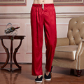 Hot New Fashion Red Chinese Men's Satin Kung Fu Tai Chi Pant Elastic Waist Leisure Straight Trousers M L XL XXL XXXL 2519-2