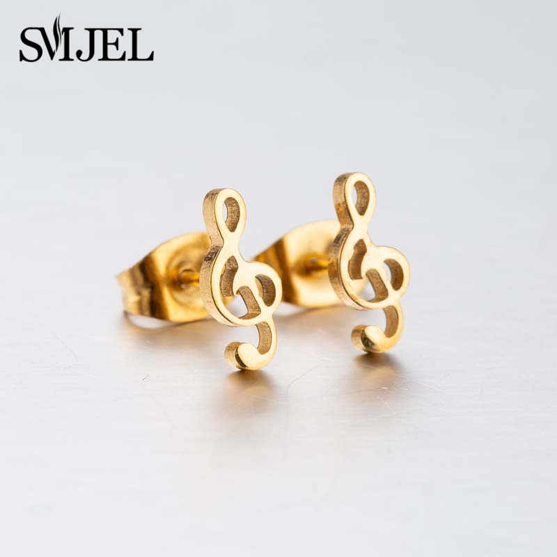 SMJEL MINI Music ต่างหูสแตนเลสสตีลหูขนาดเล็กสำหรับ Charm ผู้หญิง Musical Note ต่างหูเครื่องประดับของขวัญ Brincos Mujer