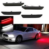 (4) Smoked Lens Front & Rear Side Marker Lamps with 96 SMD LED Lights For 2010 2014 Ford Mustang(Front: White, Rear: Red)