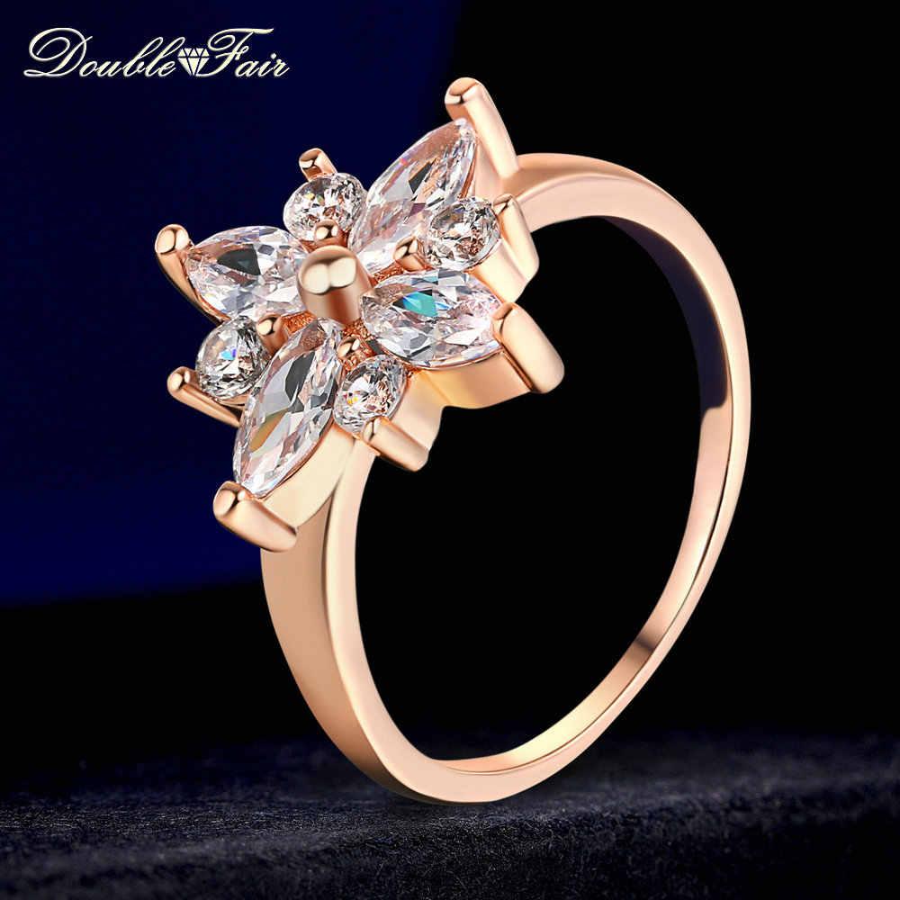 Двойное Яркое классическое кольцо, стразы, цветок, кольцо на палец, хит продаж, розовое золото, кристалл, модные вечерние ювелирные изделия для женщин, Anel DFR236