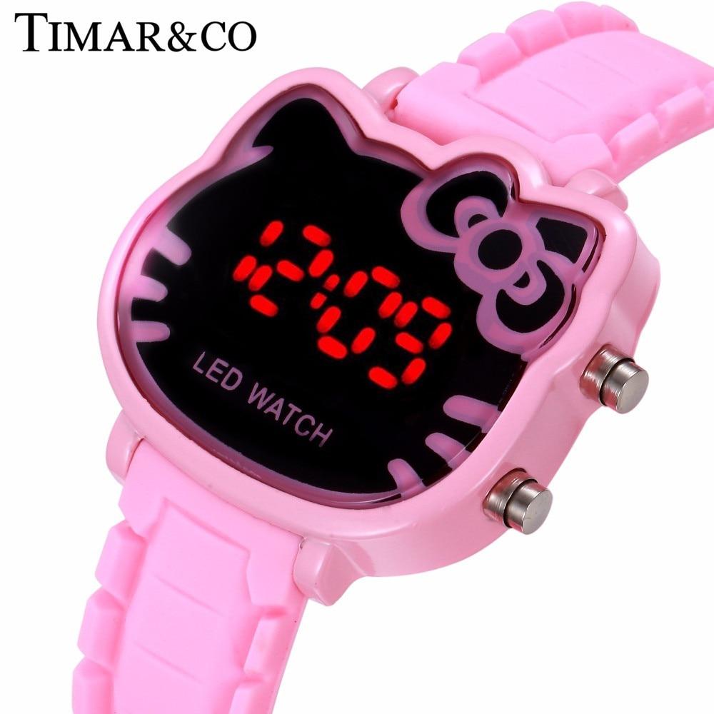 5332b721f Olá Kitty Mulheres Relógio Digital Led Relógio de Pulso Dos Desenhos  Animados Relógios Crianças Meninas Casuais