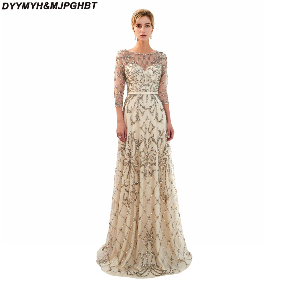 Luxury Full Crystal Dubai Prom Dresses 3/4 Sleeve Shiny Pageant ...