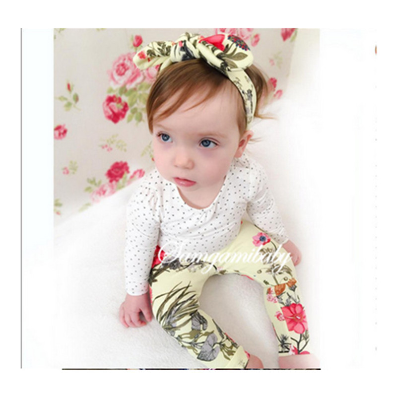 2016 new Spring Autumn children girls clothing sets geometric clothes tops t shirt + pants + Headband baby kids 3 pcs suit