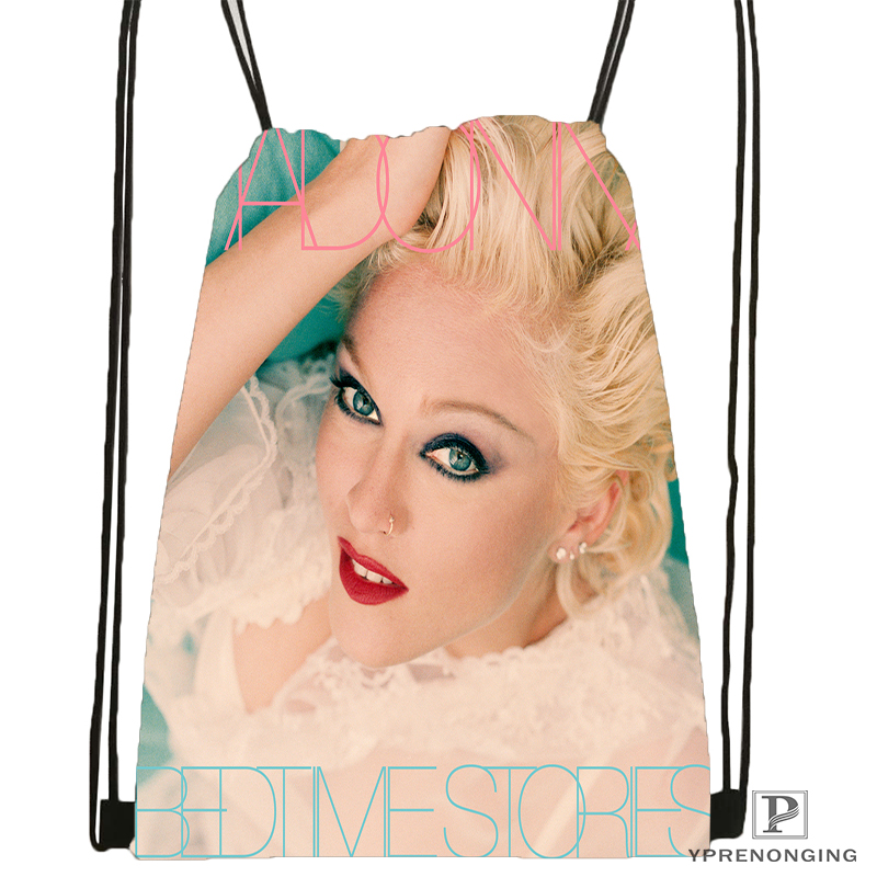 Custom Madonna Drawstring Backpack Bag Cute Daypack Kids Satchel (Black Back) 31x40cm#180531-02-59