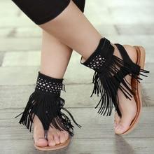 Новые летние плоской подошве в богемном стиле женские босоножки с кисточками женские Вьетнамки винтажная женская обувь пляжные