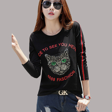 New Long Sleeve Shirt Women Funny Stranger Things Tshirt Sequin Top Plus Size T-Shirt 2018 Autumn Casual Animal Tee Femme