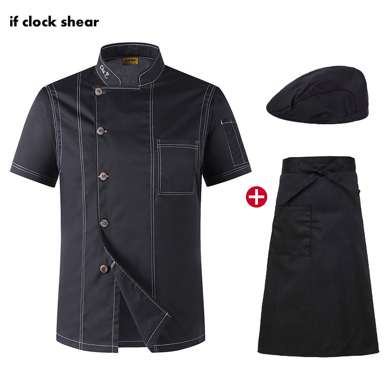 Unisex Catering Work Clothes Short Sleeve Restaurant Kitchen Uniforms Chef Jacket Hat Apron Black Shirt Men Chef M-4XL Wholesale