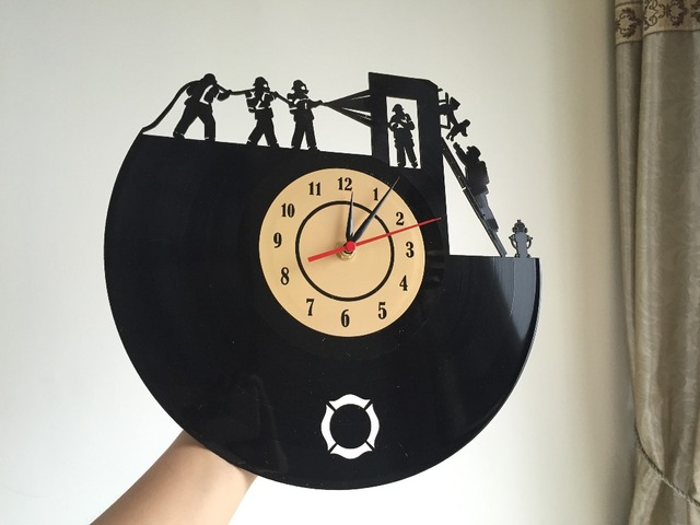 Super Cool New Arrival Vinyl Wall Clock Firefighters Theme Art CD Clock Watch Creative Clock Decorative Home