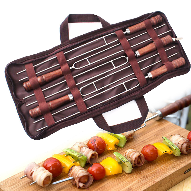 WOOD U SHAPE BBQ SKEWERS SET  (6)