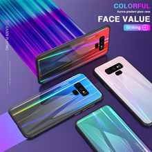 Tempered Glass Case For Samsung Galaxy Note 9 Case Aurora Gradient Luxury Glass Cover For Samsung S8 S9 Plus Note 8 Case Cover