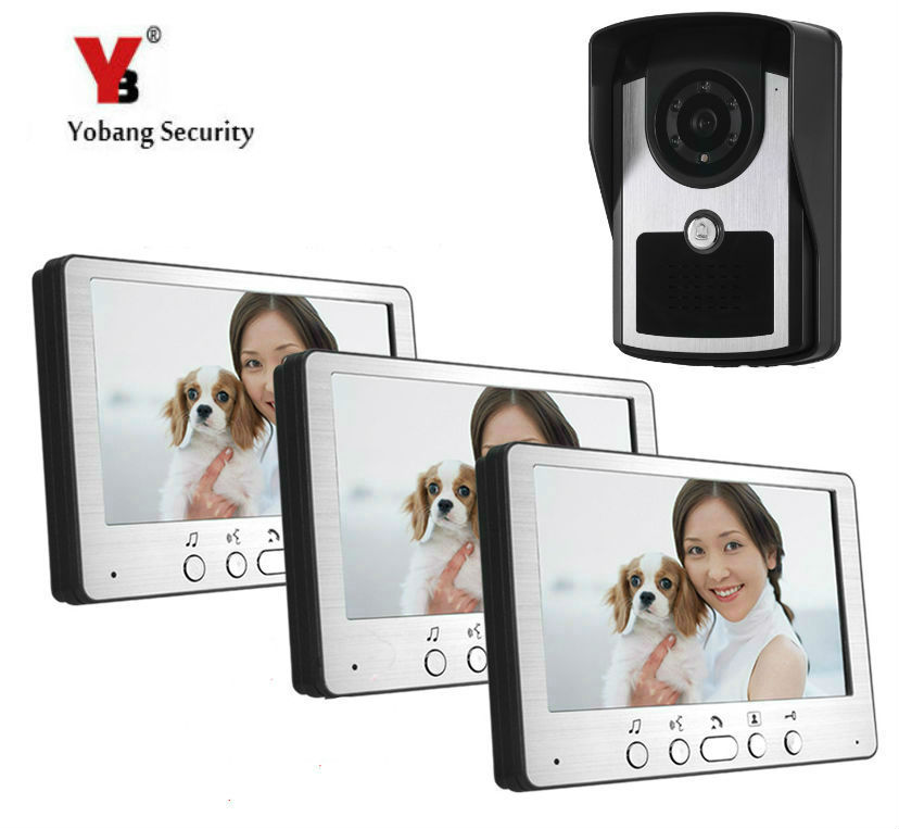 Yobang Security 7 Hands-free New Wired Video Intercom System Night-vision Apartment Door Phone Visual Doorbell Kit 3 Monitors