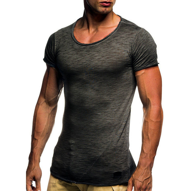 2018 New Mens Fitness T Shirt Men Slim Fit Solid Color Casual t shirts Tops Male Gyms short sleeve tshirt Plus Size 3XL