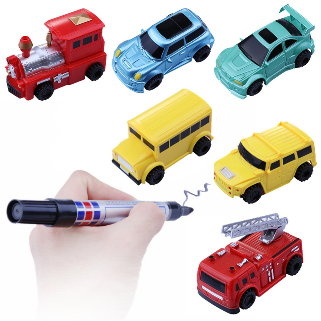 6 Styles  Inductive Car Diecast Vehicle Magic Pen Toy  Mini Magic Toy Truck Children's Truck Toys Gifts For Kids L1225