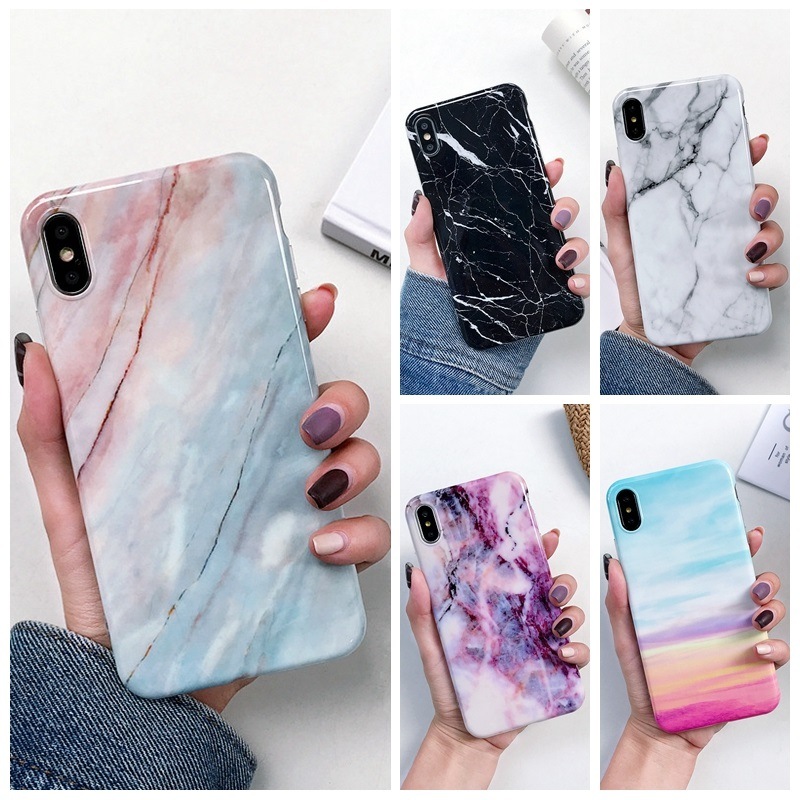 Luxury Marble Case On For Coque Samsung Galaxy A7 2018 Cover For Samsung A7 A6 Plus 2018 A70 A50 A20 A10 Silicon Soft Phone Case