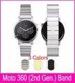 3 colores 22 mm enlace pulsera de Metal correa Motorola Moto 2nd Gen 360 reloj inteligente venda hecha por 316L de acero con 2 biela