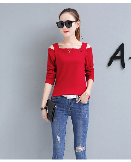 f7c4592e4af2 Women Open Shoulder Tops Tees 2019 Fashion Tshirt Red Black Plus Size T- shirt Mujer