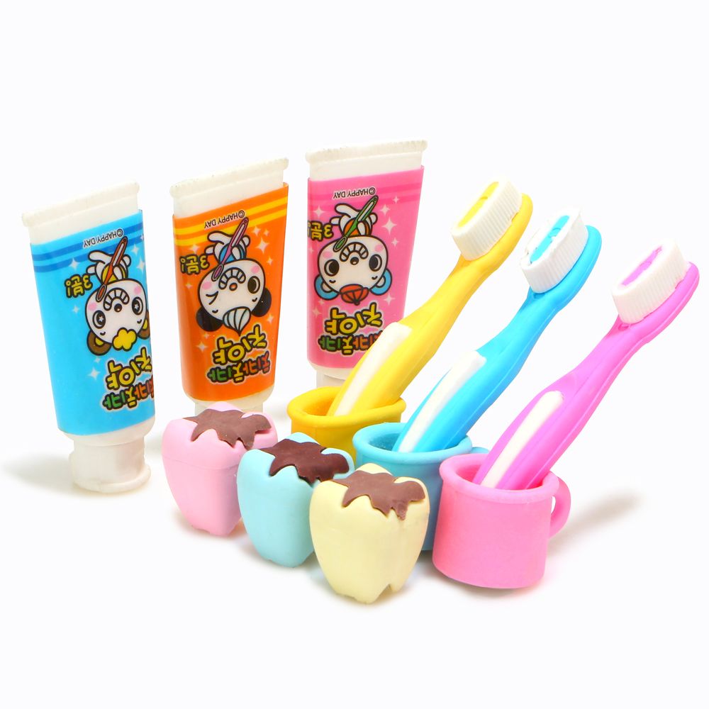 4Pcs/Set Kawaii Lovely Toothpaste Erasers For School Kids Gift Removable Teeth Eraser Rubber Free Shipping