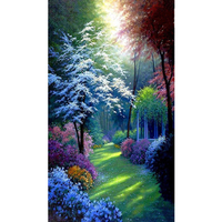 Diamond Paint Cross Stitch Tropical Forest Scenery Round Full Of Diamond Glued Home Decoration Painting