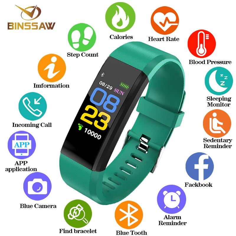 BINSSAW de moda reloj inteligente de los hombres y las mujeres chico Monitor de ritmo cardíaco sangre presión Fitness Tracker reloj relojes para ios android