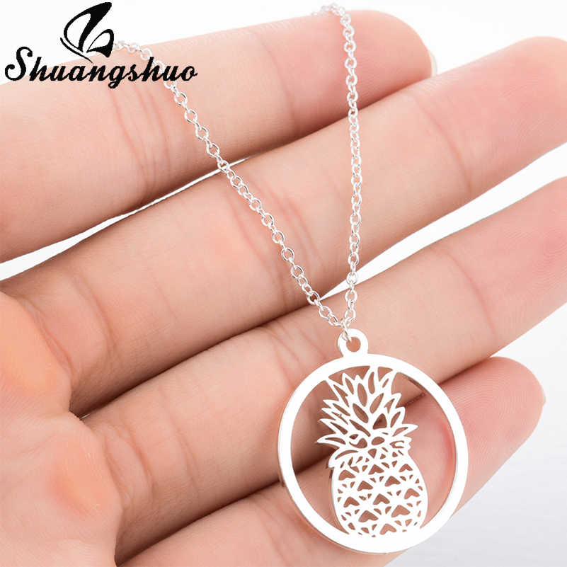 Shuangshuo Tiny Pineapple Necklaces & Pendants Tropical Jewelry Friendship Hawaii Accessories Vacation Pineapple Gifts for Women
