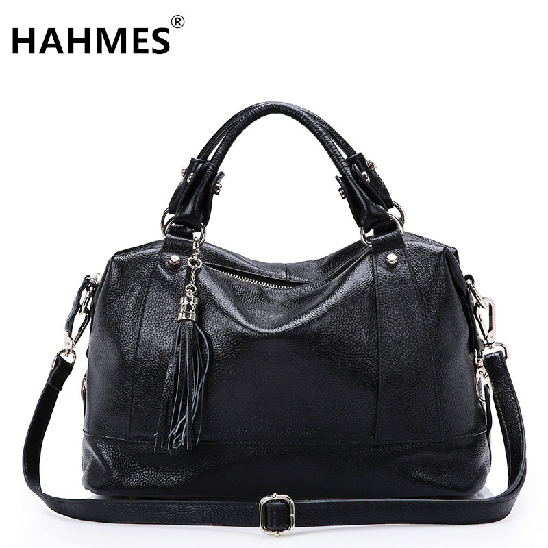HAHMES 100% Genuine Leather Women Bag women Fashion design handbag female Casual tote real cow leather shoulder bag 35cm 10541# hahmes 100