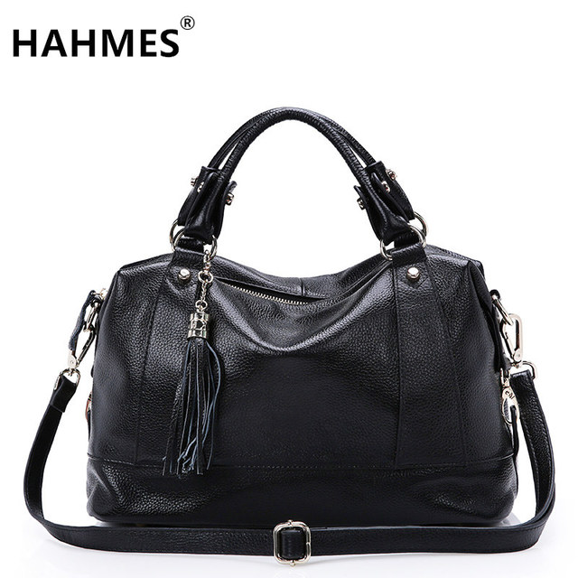 HAHMES 100% Genuine Leather Women Bag women Fashion design handbag female Casual tote real cow leather shoulder bag 35cm 10541#
